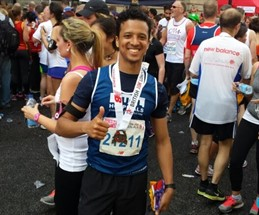 The British 10K London Run Me Thumbs Up With Medal Cropped